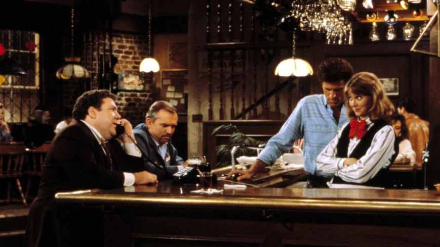 CHEERS, George Wendt, John Ratzenberger, Ted Danson, Shelley Long, 1982-1993.