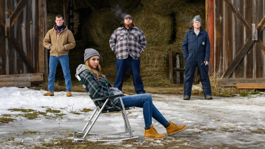 """LetterKenny -- """"American Buck and Doe"""" - Episode 901 -- Post fight with Dierks, the hicks, skids and hockey players attend an American Buck and Doe. Wayne (Jared Kesso), Katy (Michelle Mylett), Dan (K. Trevor Wilson), Daryl (Nathan Wales), shown. (Photo By Amanda Matlovich)"""