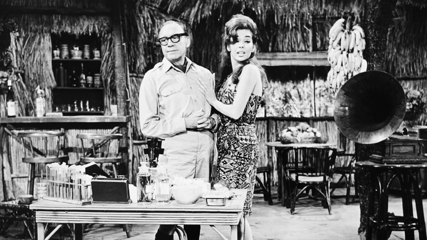 THE JACK BENNY PROGRAM, from left: Jack Benny, Abbe Lane, 'Jungle Sketch,' (season 15, episode 7, aired November 6, 1964), 1950-1965