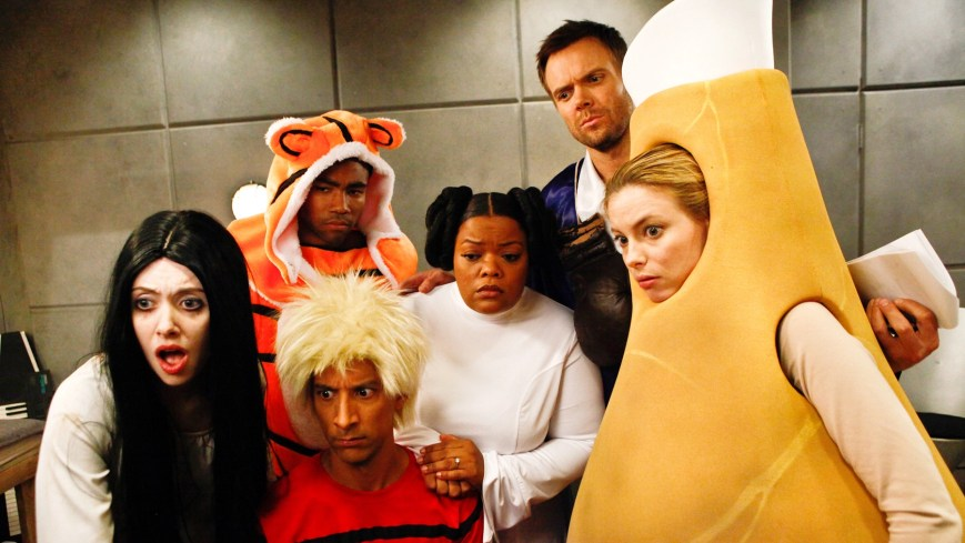 COMMUNITY, l-r: Alison Brie, Donald Glover, Danny Pudi, Yvette Nicole Brown, Joel McHale, Gillian Jacobs in 'Paranormal Parentage' (Season 4, Episode 2, aired February 14, 2013), 2009-, ph: Vivian Zink/©NBC/courtesy Everett Collection