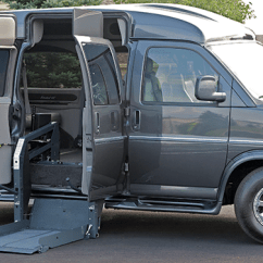 Wheelchair Express Shaker Style Dining Table And Chairs Gmc Savana Chevy Full Size Handicapped Conversion Vans Rollx For Sale Side Angle