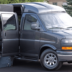 Wheelchair Express Steel Chair 3 Seater Gmc Savana Chevy Full Size Handicapped Conversion Vans Rollx For Sale Side Lift Door Open