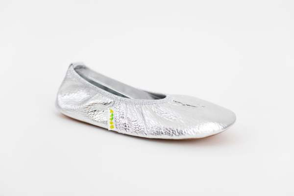 Rolly solski copati za vrtec ballerina silver iz usnja za punce