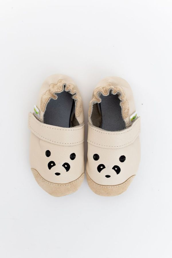 Rolly slippers toddler mini panda beige