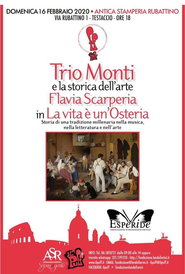 """Antica Stamperia Rubattino: il Puff presenta il Trio Monti in """" La vita è un' osteria"""""""