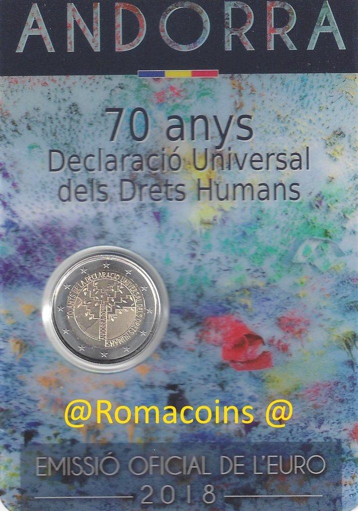 coincard andorre 2018 2 euros 70 ans de droits de l homme romaco