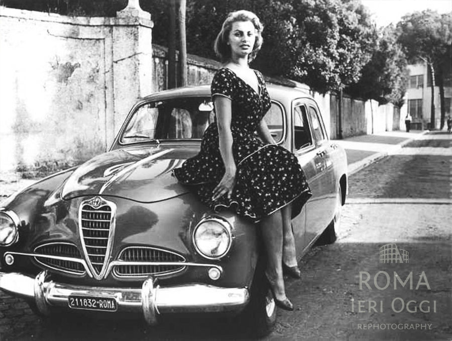 Sofia Loren e la sua Alfa 1900 rossa  Roma Ieri Oggi