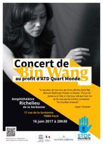 Concert de piano Paris la Sorbonne par Bin Wang et ADT Quart Monde