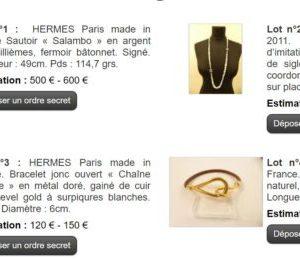Vente aux enchères Hermès Vuitton Chanel