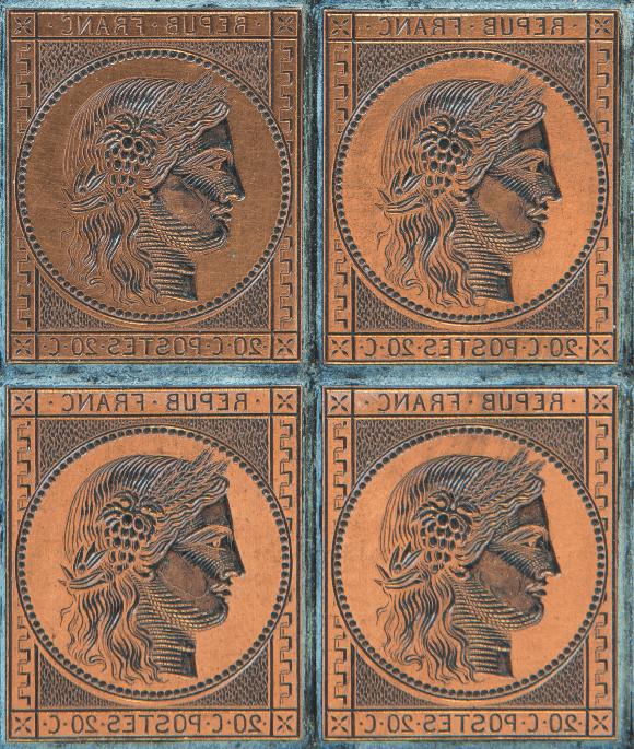 Jacques-Jean Barre, graveur, Cérès, plaque d'impression du premier timbre-poste de France, 1848 - © Musée de La Poste