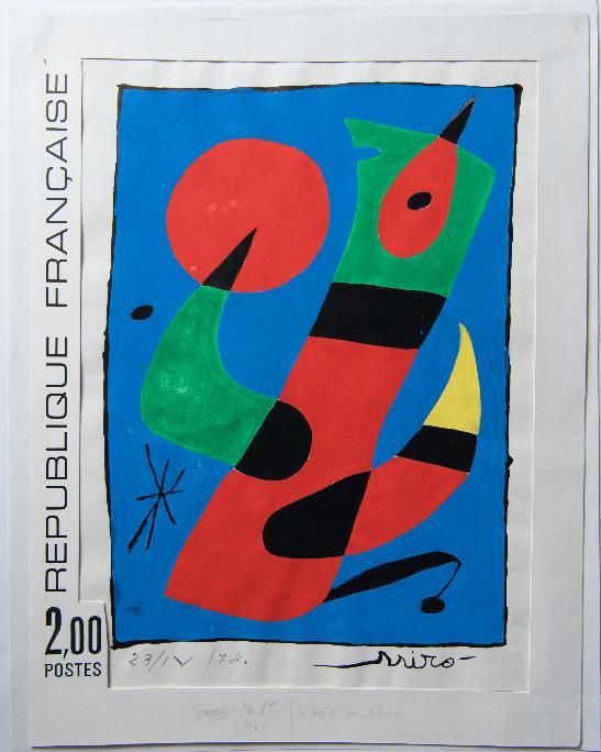 Timbre Joan Miró, œuvre originale, maquette du timbre-poste, 1974