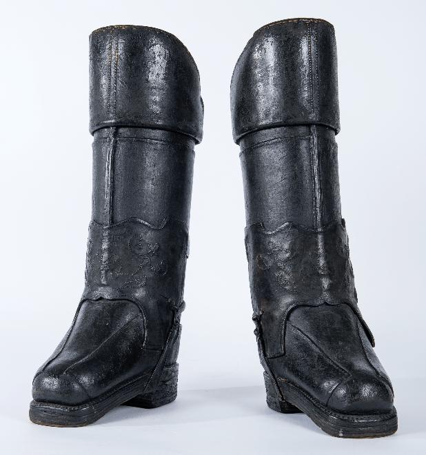 Paire de bottes de postillon, cuir, fin 18e siècle
