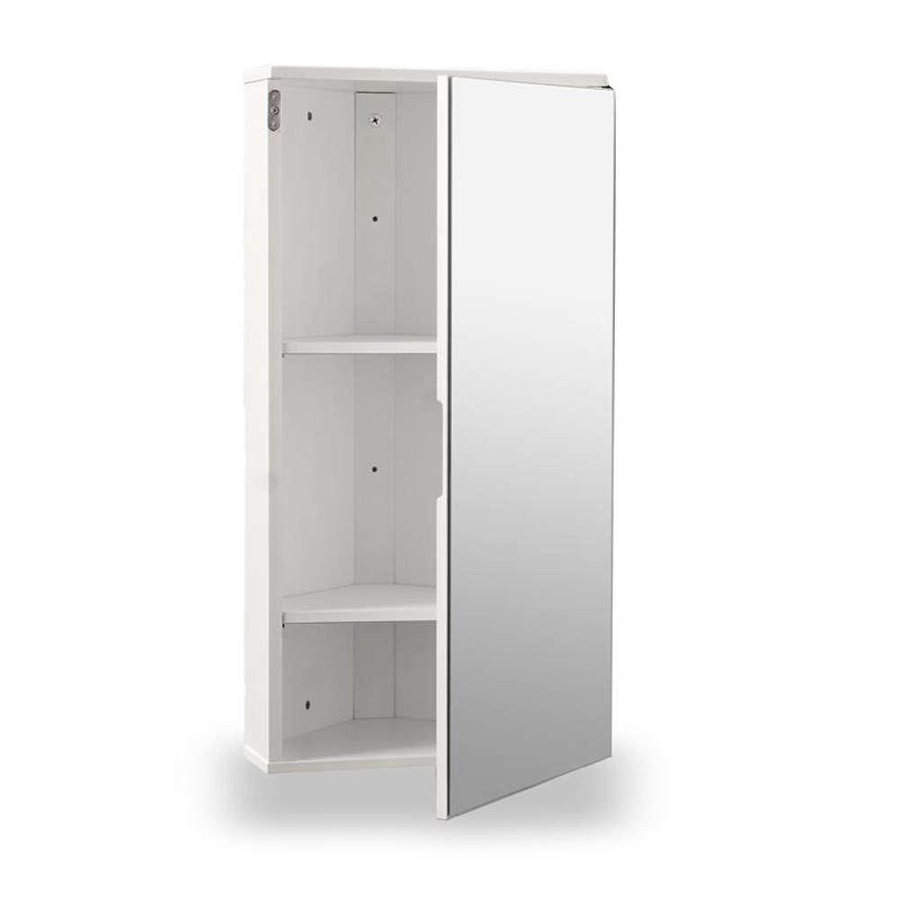 White Gloss Corner Bathroom Wall Cabinet