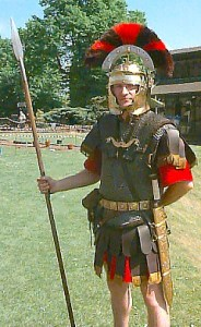 A re-enactor at Chester Roman amphitheatre