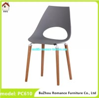 new design plastic chair with wood legs PC610