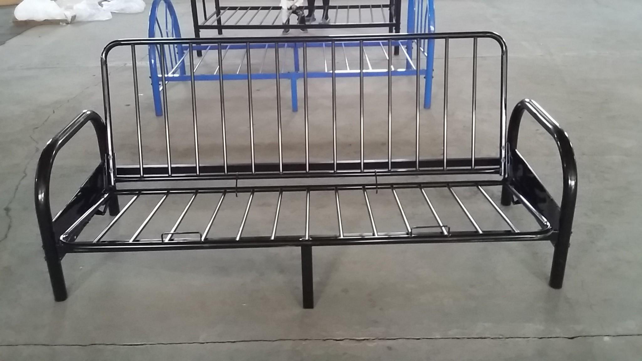 metal frame sofa bed best made brands steel adjule wooden slat