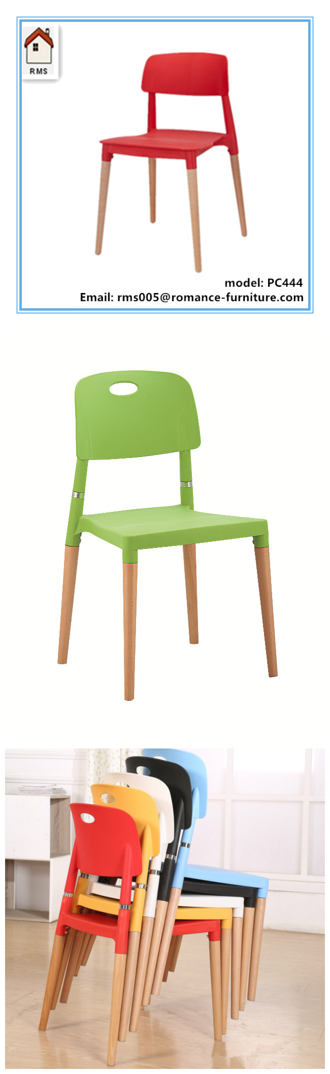 colorful plastic chairs wood legs plastic chair for sale PC444