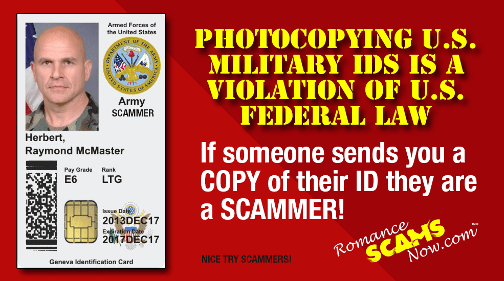 Pictures most frequently used in military scams