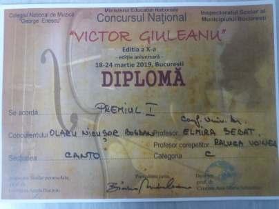 Premiul I la Concursul National Victor Giuleanu
