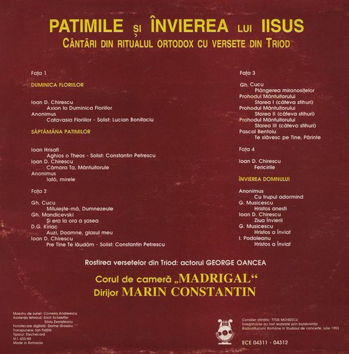 Foto 2. Booklet CD Patimile si invierea lui Iisus - Madrigal.Electrecord (foto si prel.1100 B.Dragomir)