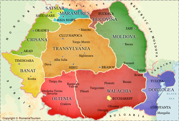 Romania - Historical Regions Map