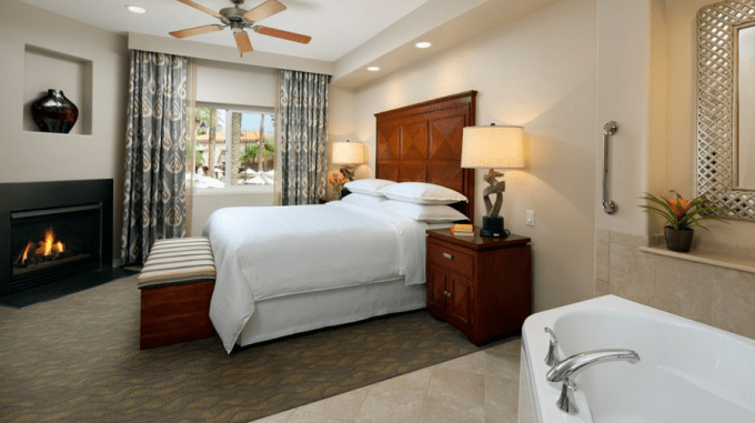 A villa with in-room Jacuzzi and Fireplace in Sheraton Desert Oasis Resort, Scottsdale, Phoenix
