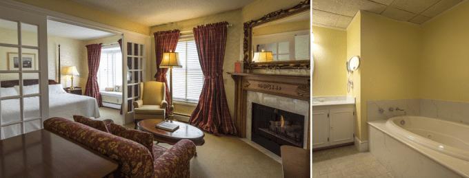 Fireplace Whirlpool Tub Suite in Stafford's Bay View Inn, Petoskey, MI