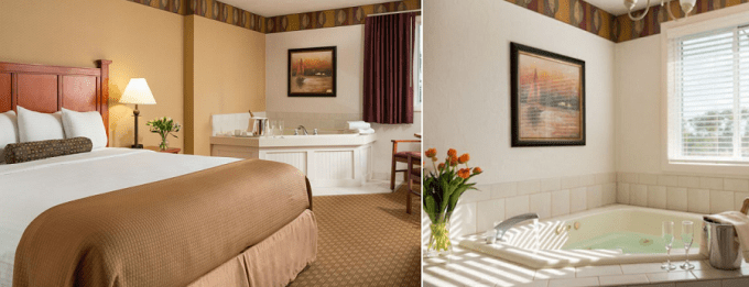 a Jacuzzi suite for couples in Bayside Resort Hotel, Cape Cod, Massachusetts
