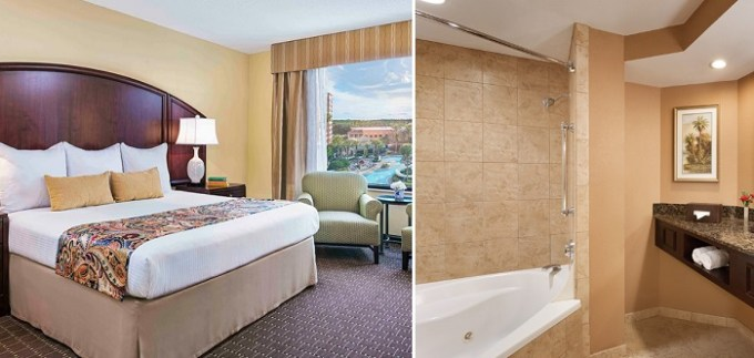 Deluxe King Suite with a whirlpool tub in Resort Caribe Royale Orlando, FL