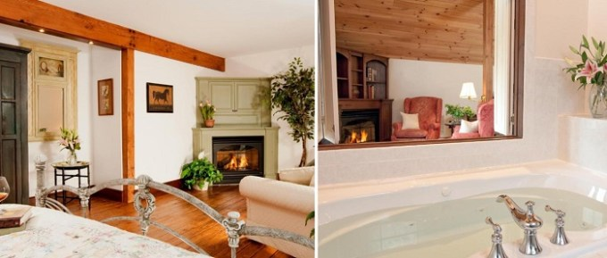 Room with Jacuzzi Tub and Fireplace in Stonecroft Country Inn, CT