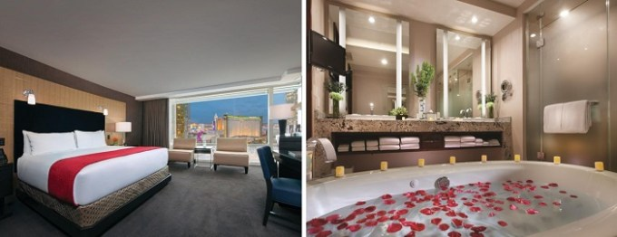 A Sky suite with private whirlpool tub in the room in ARIA Resort & Casino Hotel in Las Vegas