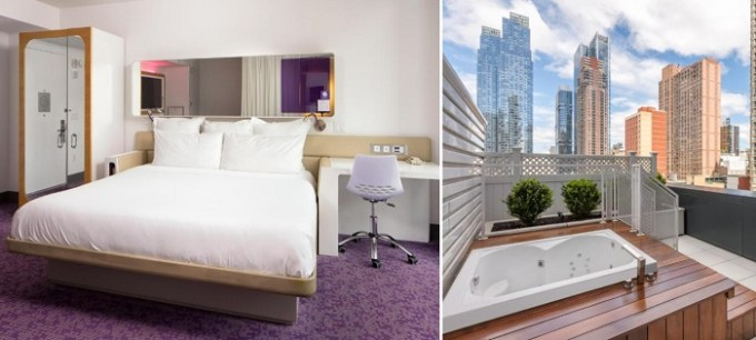 suite with an outdoor hot tub in a private terrace in YOTEL New York Times Square, Manhattan Hotel