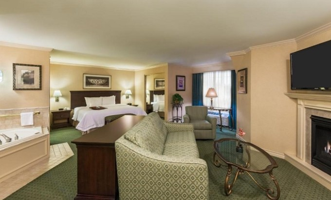A Suite with a hot tub and fireplace in Hampton Inn Buffalo-Williamsville hotel, NY