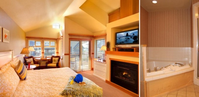 Hot tub suite with fireplace in The Ocean Lodge, Cannon Beach, Oregon Coast