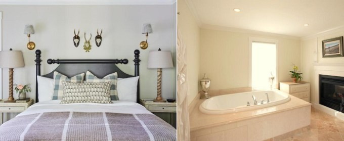 Room with a jetted tub and a fireplace in The White Barn Inn & Spa, Auberge Resorts Collection, Kennebunk, maine