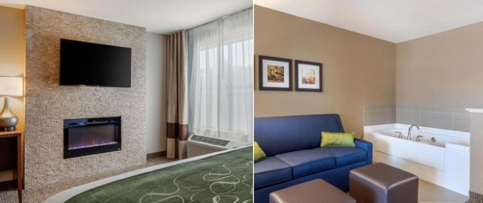 Jacuzzi suite with a fireplace in Comfort Inn & Suites Schenectady - Scotia, NY