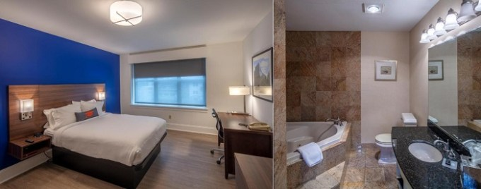 Suite with a whirlpool tub in the room in Collegian Hotel & Suites, Trademark Collection by Wyndham, Syracuse, NY