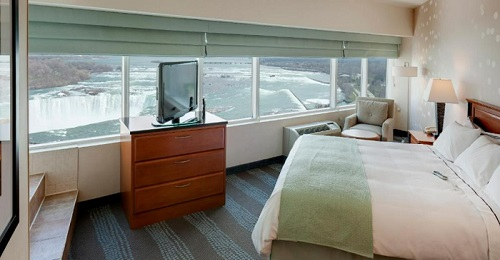 A Hotel suite with views of Niagara Fall in Radisson Hotel & Suites Fallsview