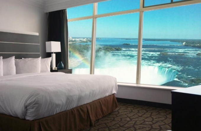 Hotel room with a view of Niagara Fall in Tower Hotel at Fallsview, Ontario, Canada