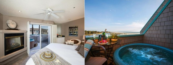 Beachfront Jacuzzi suite in SeaVenture Beach Hotel, Pismo Beach, CA