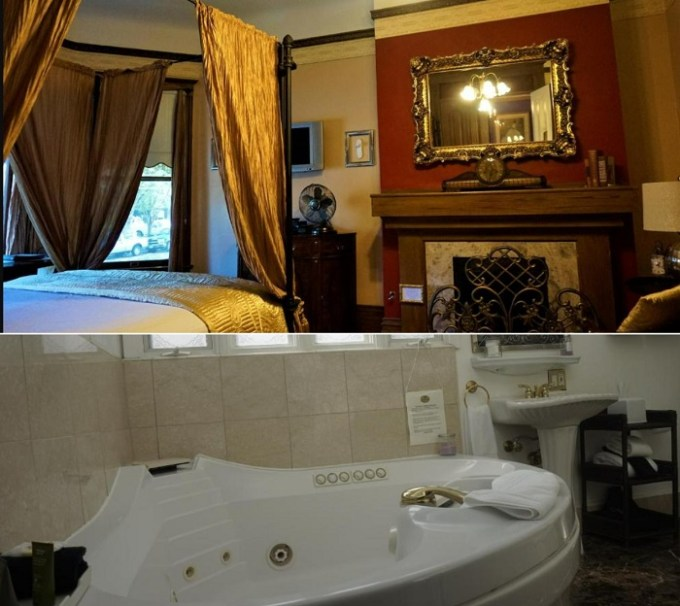 Hot tub suite with a fireplace in Amber House Inn Of Midtown, downtown Sacramento, CA