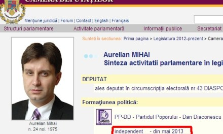 Senzaţional! Deputatul Aurelian Mihai nu mai este parlamentar PPDD