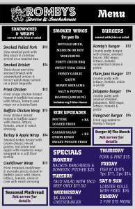 Romby's Tavern and Smokehouse 2021 Menu Page 1