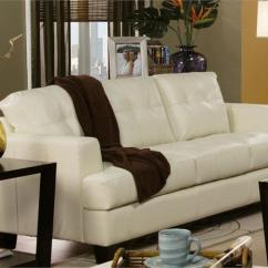 Loveseat Sleeper Sofa Leather Footstool Cream Set Samuel Collection Item 501691
