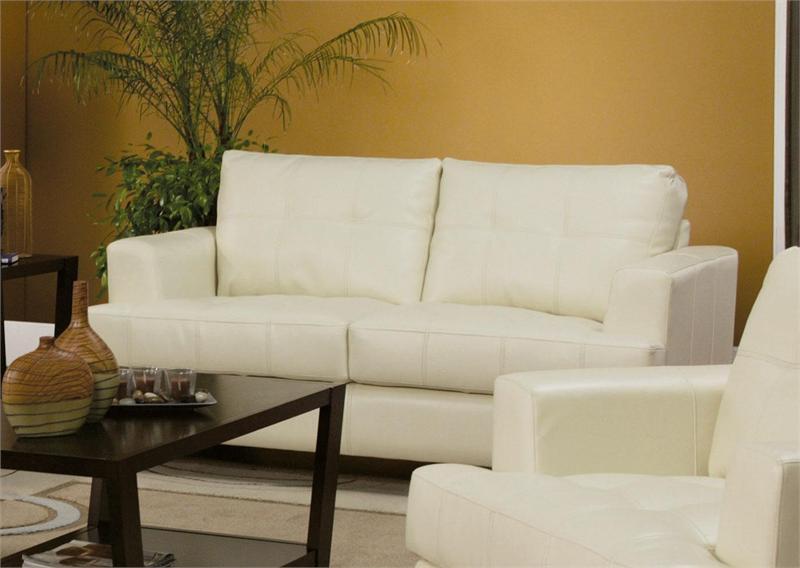 Cream Leather Sofa Set Samuel Collection Item 501691