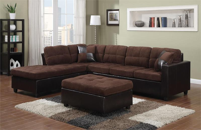 dark brown microfiber sofa sectional indiana chocolate reversible - mallory collection