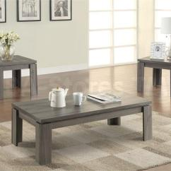 3 Piece Living Room Table Set Wall Tile Ideas Coaster 701686 Weathered Grey Coffee
