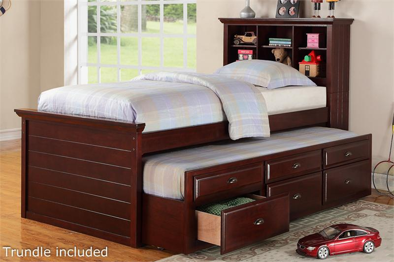 Cherry Twin Bed with Bookcase Headboard and Trundle with
