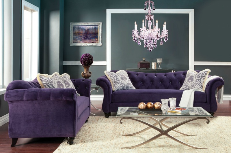 glam sofa set childs bed chair antionette purple sm2222 sf lv chesterfield