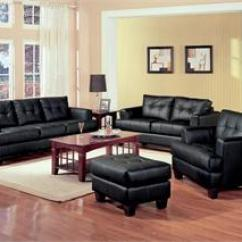 Black Leather Living Room Chandeliers For Cream Sofa Set Samuel Collection Item 501691